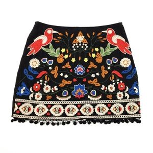 Womens Black Floral Umgee Mini Skirt Size Small